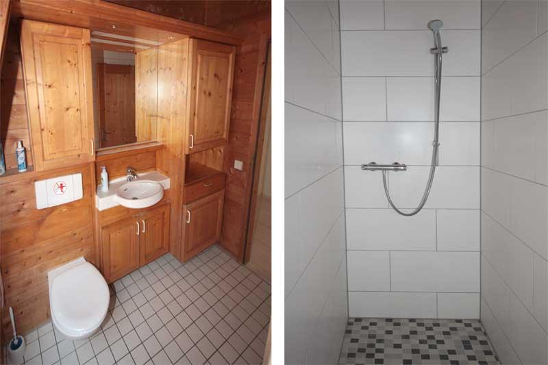 Rustikales Bad mit Toilette, Waschbecken und Dusche