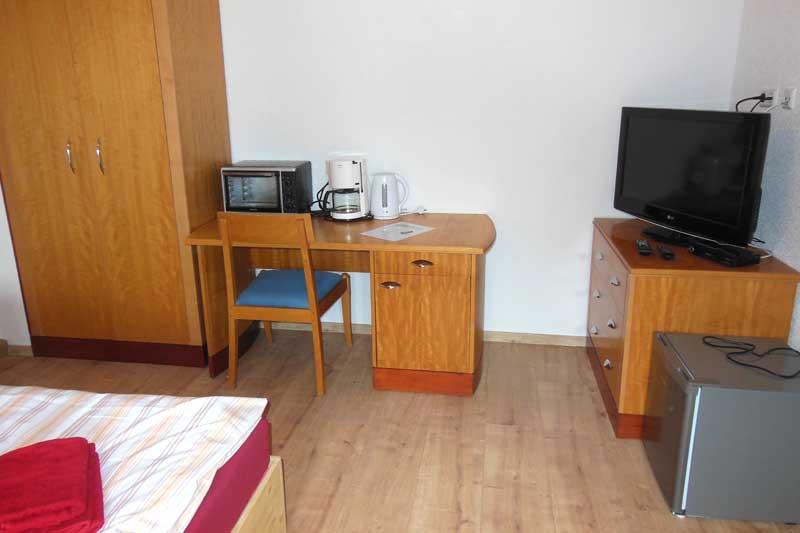 Ausstattung im Doppelzimmer des Boardinghouses